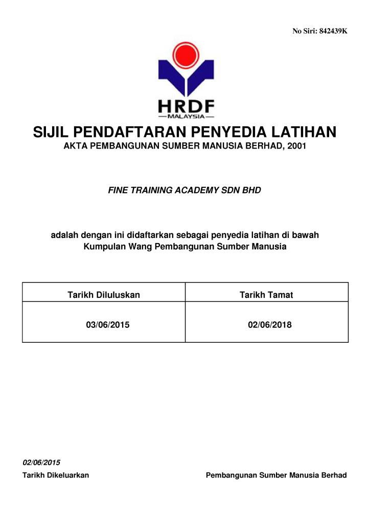 Sijil Penyedia Perkhidmatan Latihan PSMB