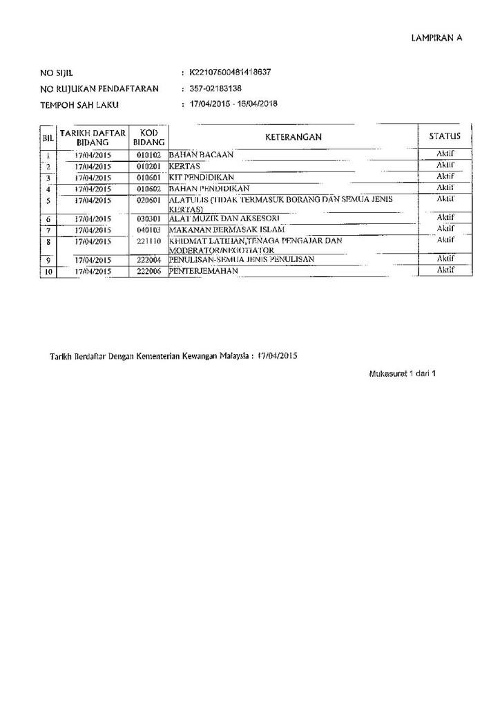 Sijil Rujukan Berdaftar Kementerian Kewangan Malaysia